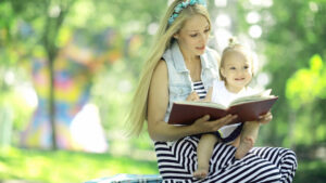 work at home mum reading to her child